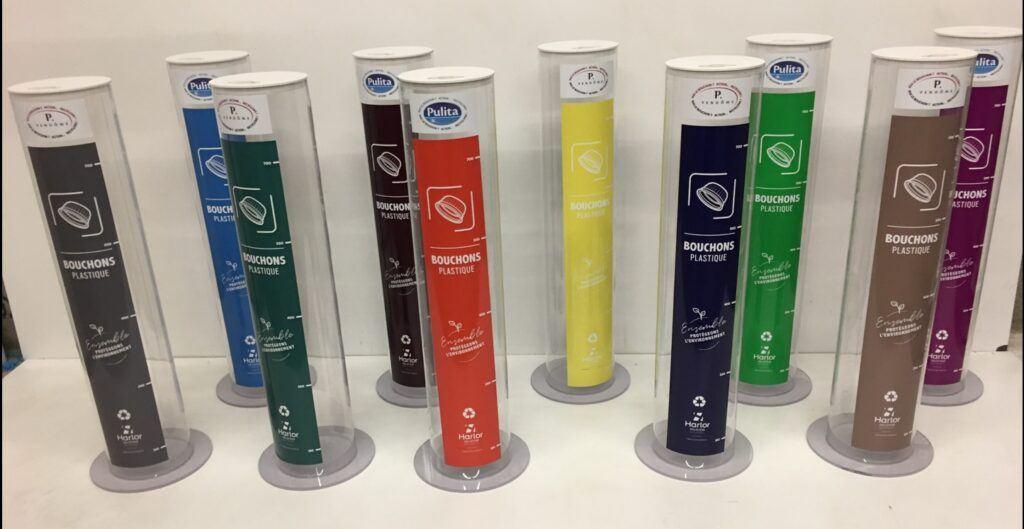 Poubelle de recyclage transparente avec logo client